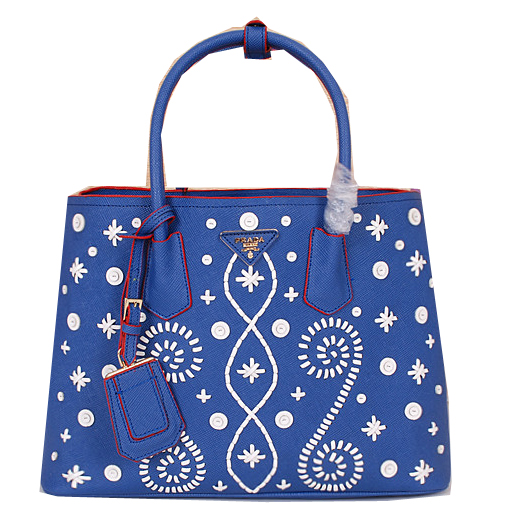 Prada Weave Leather Tote Bags B2756 Royal