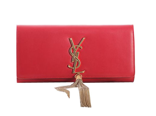 Saint Laurent Classic Monogramme Tassel Original Leather Clutch Y5485 Red
