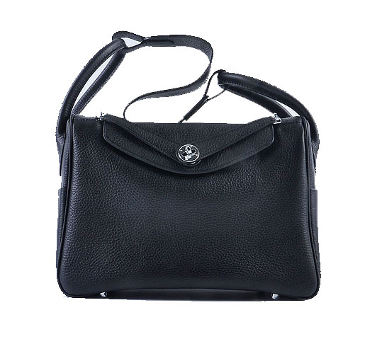 Hermes Lindy 30CM Grainy Leather Shoulder Bag H6207 Black