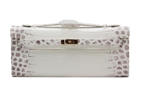 Hermes Kelly Clutch Bag Croco Leather K1002 OffWhite