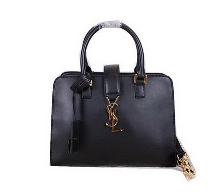 Yves Saint Laurent Medium Cabas Monogram Leather Tubular Top Handle Bag YSL8332 Black
