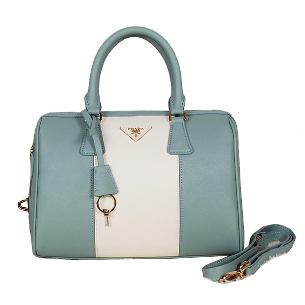 PRADA Saffiano Leather Two Handle Bag BN0823 Light Blue&White