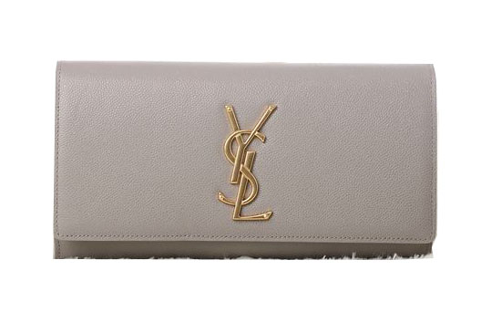Saint Laurent Classic Monogramme Clutch Cannage Pattern Y5486 Khaki