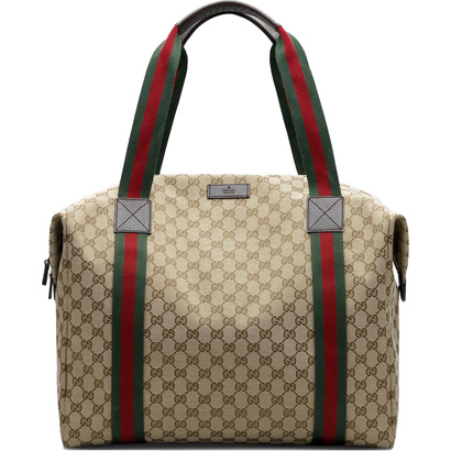 Gucci Large Carry-on Duffle bag Beige Dark Brown Green Red