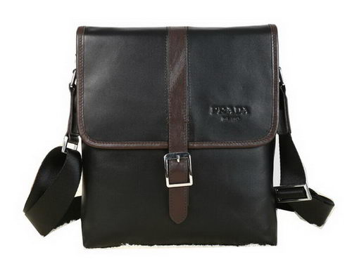 Prada Calfskin Leather Messenger Bag P88091 Black