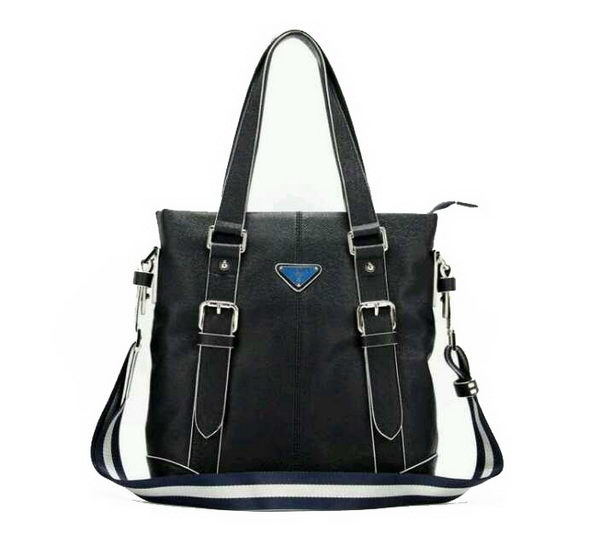Prada Saffiano Calf Leather Tote Bag 98432 Dark Blue