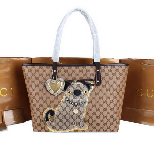 Gucci Joy Supreme Dog Canvas Shoulder Bag 212373 Brown