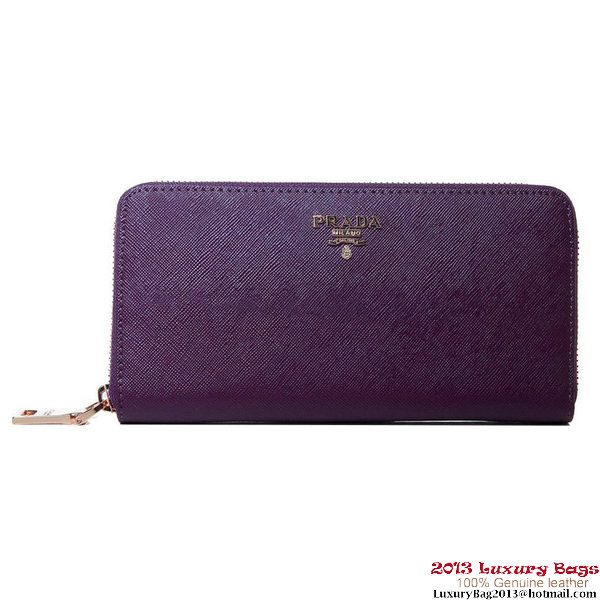 Prada Saffiano Calf Leather Wallet 1M1136 Purple