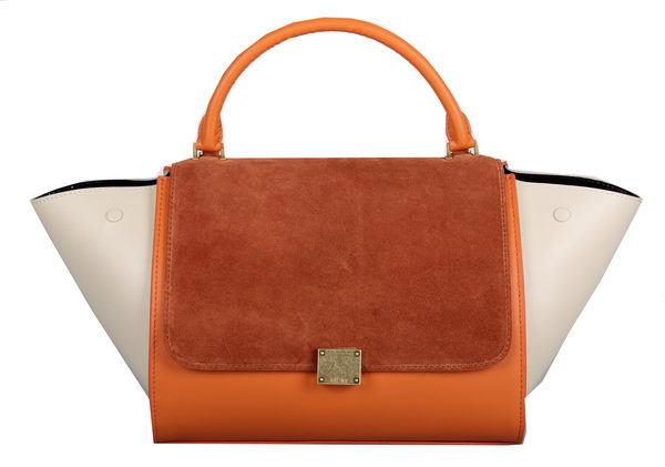 Celine Trapeze Bag Suede Leather C3342 Wheat&Orange&OffWhite