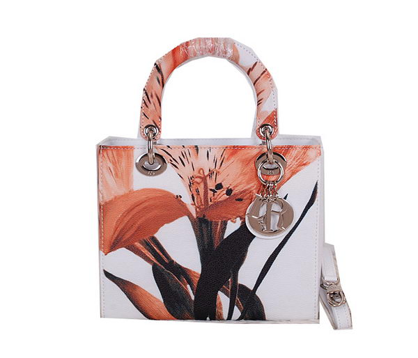 Christian Dior Alstroemeria Flower Lady Dior Bag CD0523 Orange