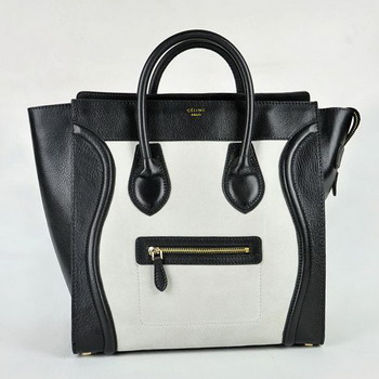 Celine Matte Paper Leather Handbag 98170 Black with White