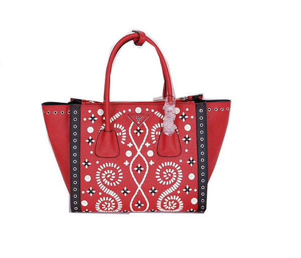 Prada Original Saffiano Leather Tote Bag BN2619E Red