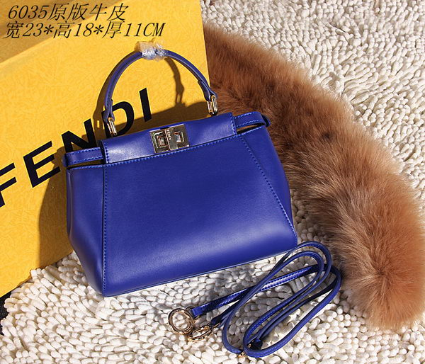 Fendi Peekaboo Bag Smooth Leather FD6035 Blue