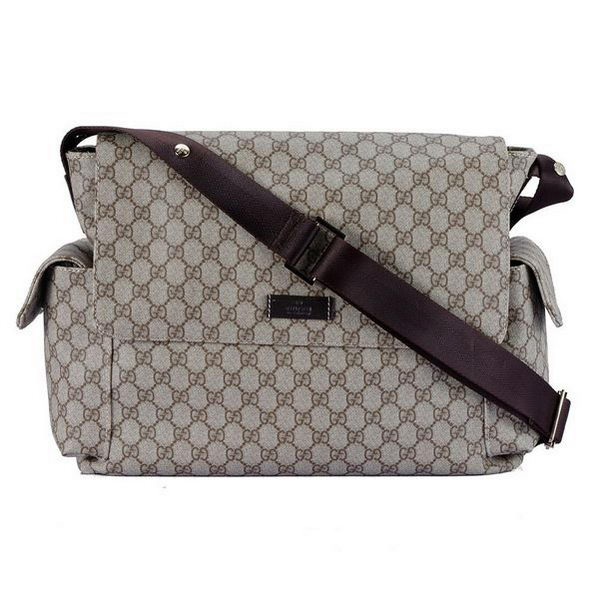 Gucci Messenger Diaper Bag GG Plus 211131 Brown