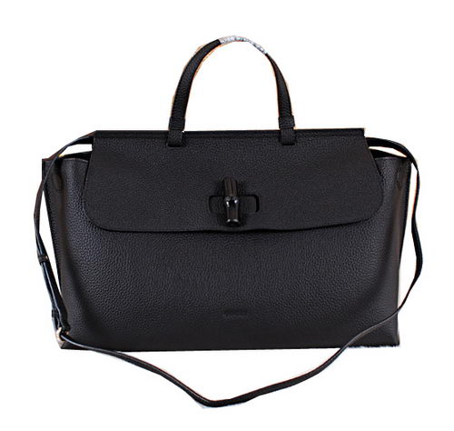 Gucci Bamboo Daily Leather Top Handle Bags 370830 Black
