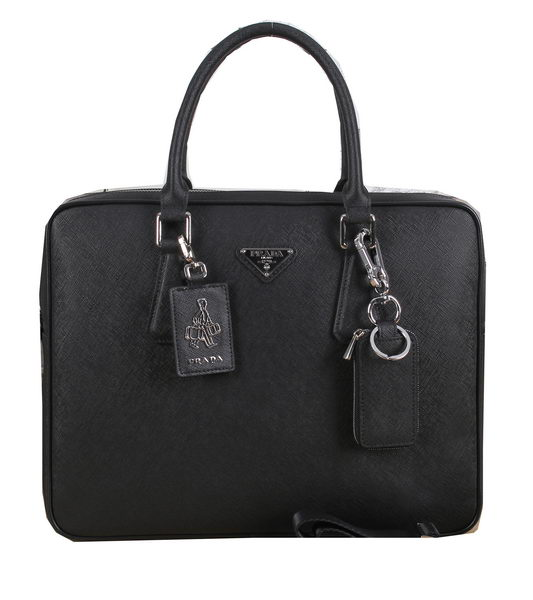 Prada Saffiano Calf Leather Briefcase PF003 Black