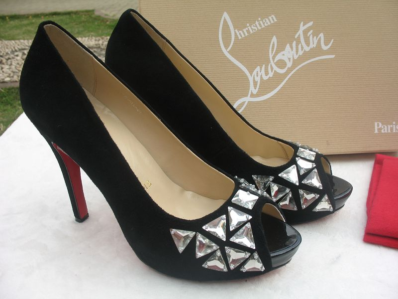 Christian Louboutin Bling Bling Peep Toe Pewter Pumps