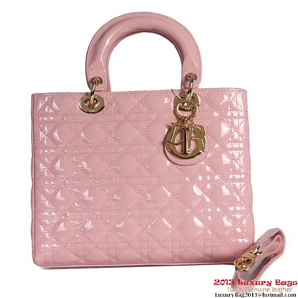 Lady Dior Bag Small Bag D9602 Light Pink Patent Leather Gold