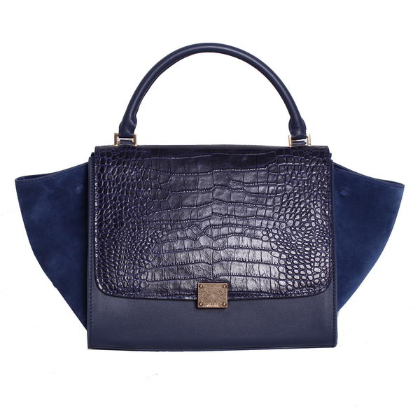 Celine Trapeze Top Handle Bag Croco Leather 88037 RoyalBlue