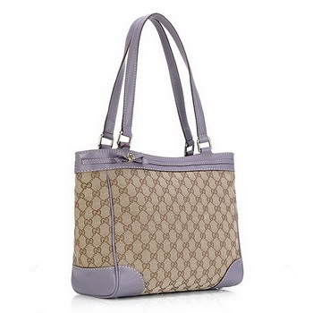 Gucci Mayfair Medium Tote Bag Apricot with Purple 257061
