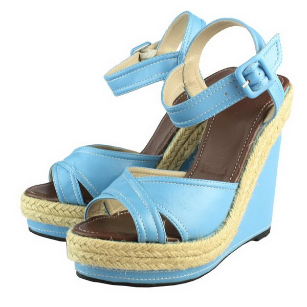 Christian Louboutin Sheepskin Leather Wedge Sandals Blue