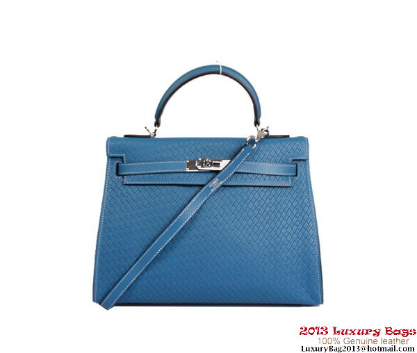 Hermes Kelly 32cm Top Handle Bag Royalblue Woven Leather Silver
