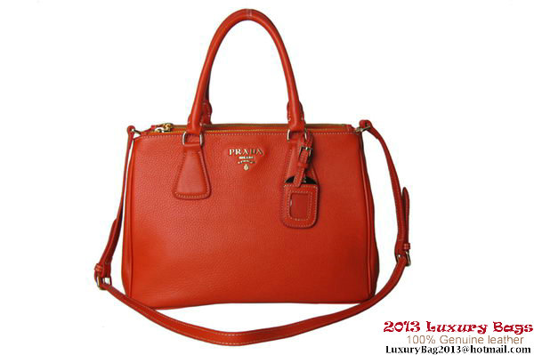 PRADA Grained Calf Leather Tote Bag BN2421 Orange
