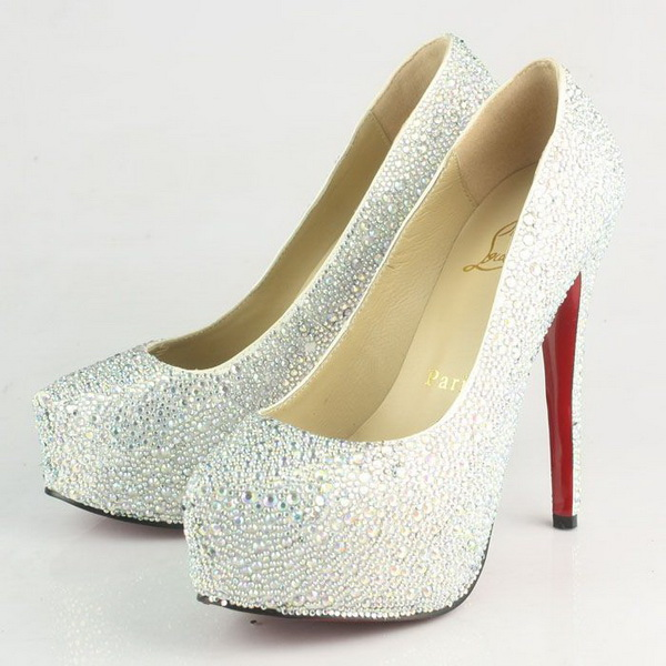 Christian Louboutin Crystal New Declic Satin 140mm Pump CL9766 White