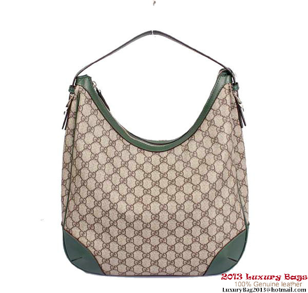 Gucci Nice GG Supreme Canvas Hobo Bag 309618 Dark Green