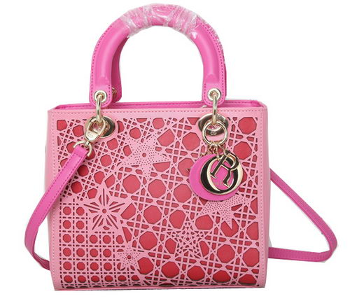 Dior Star Cutout Leather Lady Dior Bag D0666 Pink