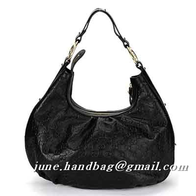 Gucci Interlocking Guccissima Medium Hobo Bag 223952 Black