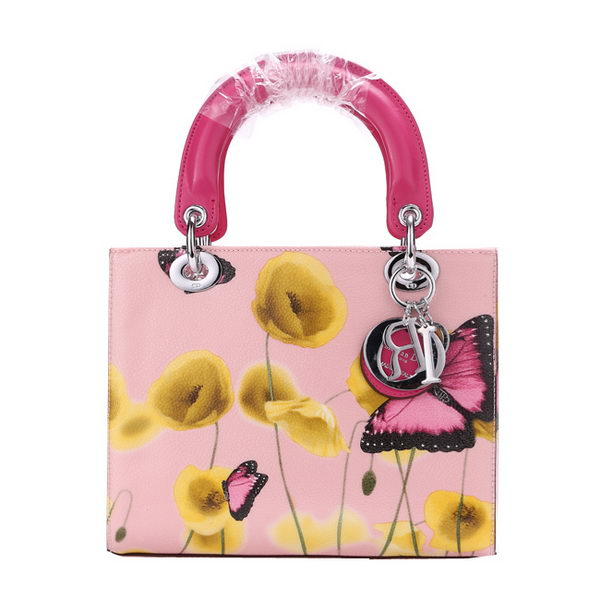 Christian Dior Butterfly Leather Mini Lady Dior Bag D6325 Rosy