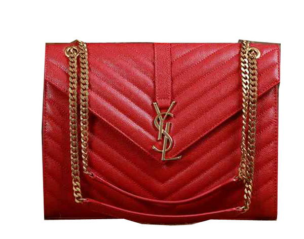 Saint Laurent Classic Monogramme Cannage Pattern Flap Bag Y5480 Red