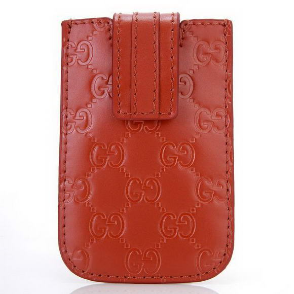 Gucci Embossed Leather iphone Case 210188 Red