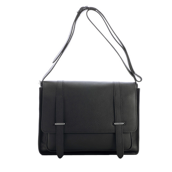 Hermes Etriviere Messenger Bag Grainy Leather H1069 Black
