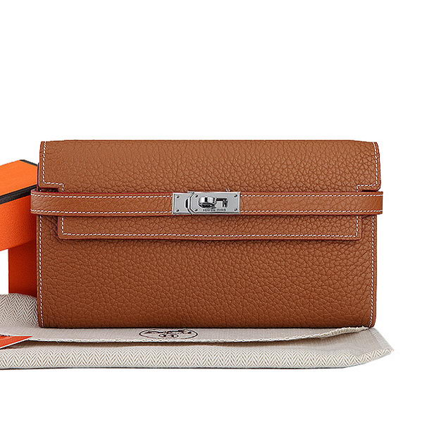 Hermes Kelly Original Leather Bi-Fold Wallet A708 Camel