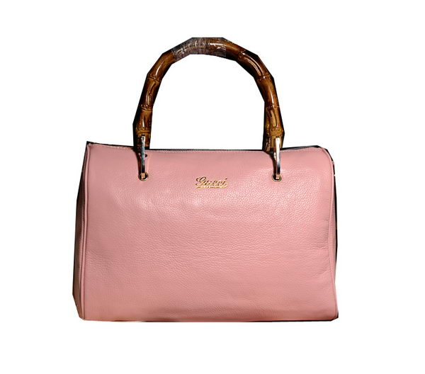 Gucci Bamboo Shopper Leather Boston Bag 353124 Pink