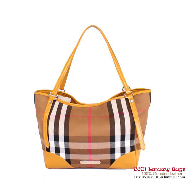 BurBerry Small Bridle House Check Tote Bag B17971 Apricot