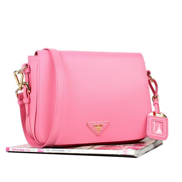 New Cheap Prada Saffiano Calf Leather Flap Bag YZ8229 Pink