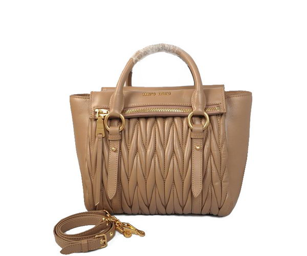 miu miu Matelasse Nappa Leather Top Handle Bag 62061 Khaki
