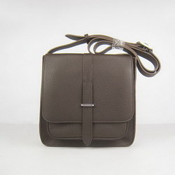 Hermes Deep-Coffee Cow Leather Messenger Bags H2811