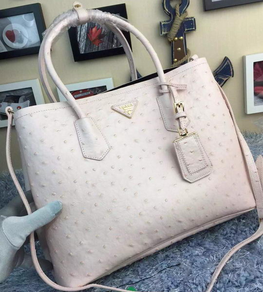 Prada Ostrich Leather Tote Bag BN2756 White