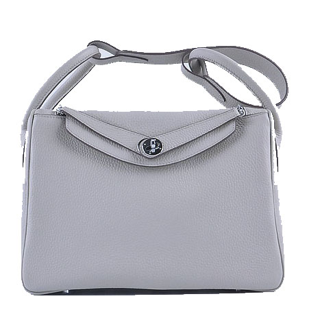 Hermes Lindy 30CM Grainy Leather Shoulder Bag H6207 Grey