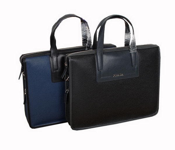 Prada 85051 Saffiano Calf Leather Briefcase