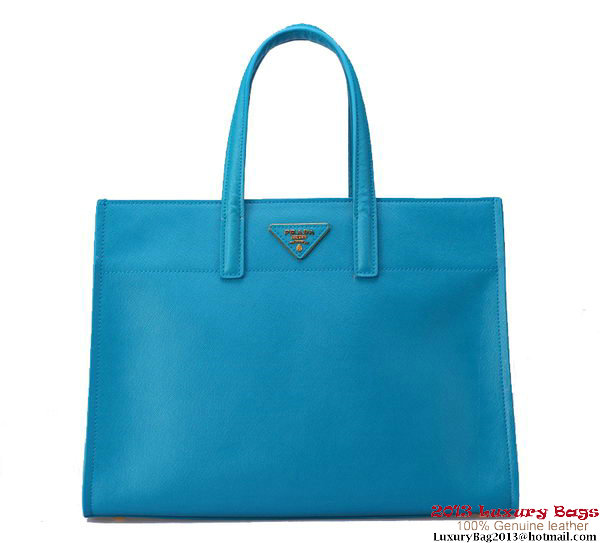 Prada Soft Saffiano Leather Tote Bag BN2603 Blue
