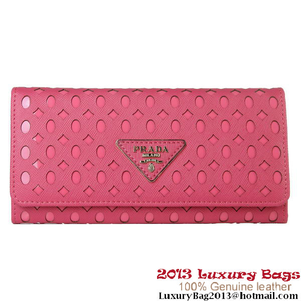 Prada Hollow Calf Leather BiFond Wallet 1M1141 Rosy