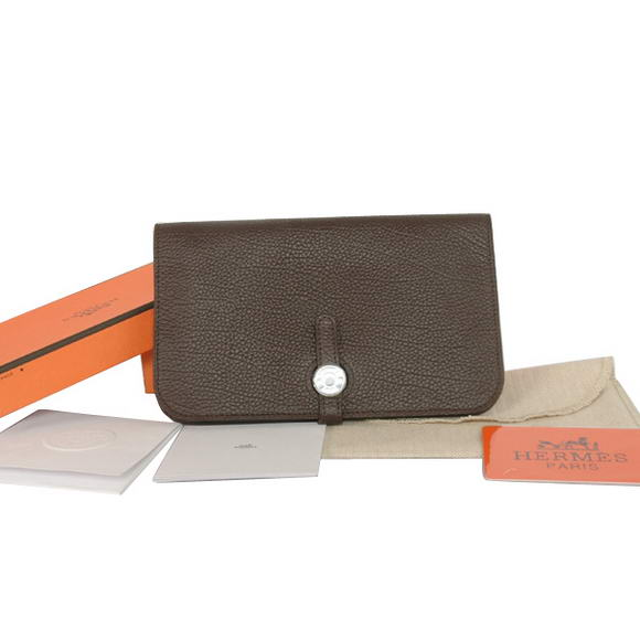 Hermes Compact Passport Holder Smooth Leather Wallet Brown