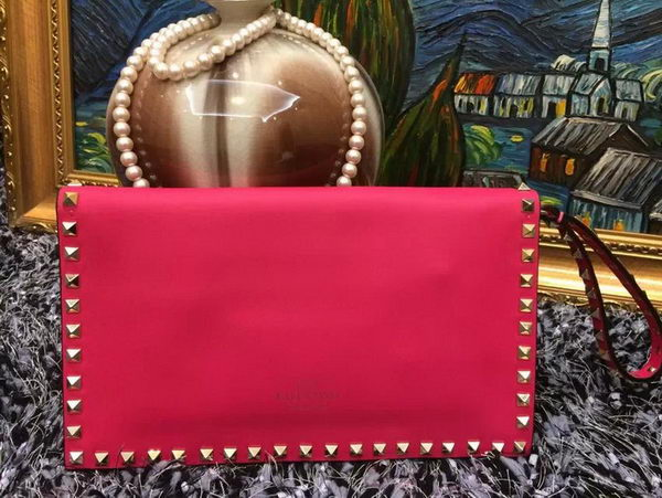 Valentino Garavani Rockstud Leather Clutch VO808 Rose
