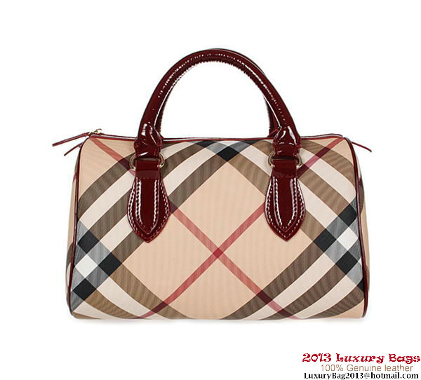 Burberry Medium Nova Check Bowling Bag 7903 Wine