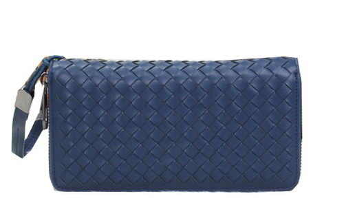 Bottega Veneta Intrecciato Nappa Zip Around Wallet BV6818 Blue